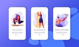 Страница приложения внутреннего оформления реновации мобильная на наборе экрана Партер разнорабочего лежа деревянный Женщина клея иллюстрация штока