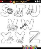 Страница расцветки алфавита шаржа Стоковая Фотография RF