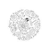 Страница расцветки барабанчика Doodle Стоковые Изображения RF