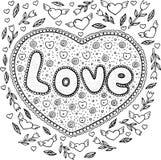 Страница расцветки для взрослых с мандалой и словом влюбленности Lett Doodle иллюстрация вектора