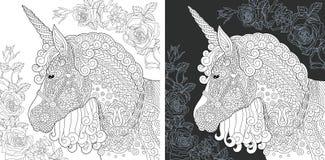 Страница расцветки единорога бесплатная иллюстрация