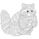 Страница расцветки енота Zentangle иллюстрация вектора