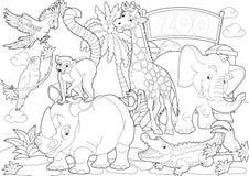 Страница расцветки - зоопарк - иллюстрация для детей Стоковые Фотографии RF