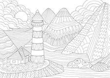 Страница расцветки Книжка-раскраска для взрослых Крася изображения маяка среди гор, солнца и утесов Antistress freehand sket иллюстрация штока