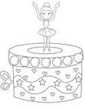 Страница расцветки коробки музыки балерины Стоковые Фото
