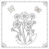 Страница расцветки от цветков и бабочек Стоковое Изображение
