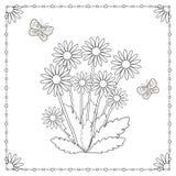 Страница расцветки от цветков и бабочек Стоковое Изображение RF