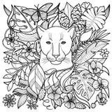 Страница расцветки пантеры Стоковое Изображение