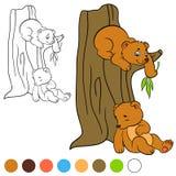 Страница расцветки Покрасьте меня: медведь 2 маленьких милых медведя Стоковое Изображение RF