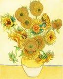 Страница расцветки солнцецвета ` s ван Гога взрослая бесплатная иллюстрация