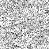 Страница расцветки с безшовной картиной цветков, бабочек и Стоковая Фотография RF