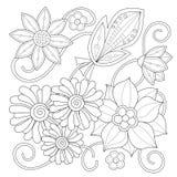 Страница расцветки с винтажными цветками черная белизна Орнамент Handrawn Стоковые Фото