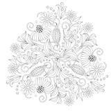 Страница расцветки с винтажными цветками черная белизна Орнамент ound Handrawn Стоковое фото RF