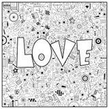 Страница расцветки с иллюстрацией слова влюбленности Стоковая Фотография