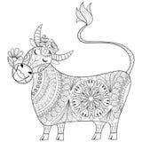 Страница расцветки с коровой, illu доильщика чертежа руки zenart стилизованным иллюстрация вектора