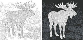 Страница расцветки с лосями иллюстрация вектора