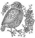 Страница расцветки с птицей и цветками Стоковая Фотография