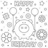 Страница расцветки также вектор иллюстрации притяжки corel Свинья с воздушными шарами стоковая фотография rf