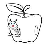 Страница расцветки червя личинки и шаржа яблока для toddle Стоковая Фотография