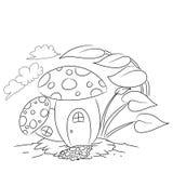 Страница расцветки шаржа плана дома гриба Стоковое Изображение RF