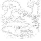 Страница расцветки шаржа плана Hippotamus Стоковое Фото