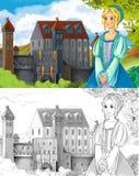 Страница расцветки эскиза - сказка художественного стиля Стоковые Изображения