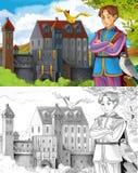 Страница расцветки эскиза - сказка художественного стиля Стоковое Изображение RF