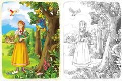 Страница расцветки эскиза - сказка художественного стиля Стоковые Изображения RF