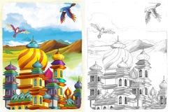 Страница расцветки эскиза - сказка художественного стиля Стоковая Фотография RF
