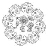 Страница расцветки этнической картины слонов взрослая Стоковое Фото