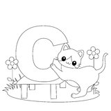 страница расцветки c алфавита животная иллюстрация штока
