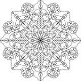 Страница расцветки Zentangle взрослая, мандала с цветками стоковые изображения