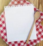 Страница рецепта чистая бумажная для примечаний Стоковые Фото