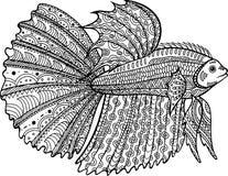 Страница рыб Betta нарисованная рукой крася иллюстрация штока