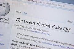 Страница Рязани, России - 9-ое сентября 2018 - Wikipedia о больших британцах печет на дисплее ПК стоковое фото rf