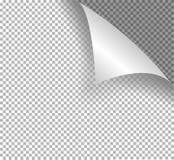 Страница с в оболочке углом Реалистическая иллюстрация с прозрачной тенью иллюстрация вектора