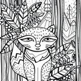 Страница для книги цвета при стилизованная лиса сидя в стиле леса нарисованном рукой, doodle, zentangle Стоковое Фото