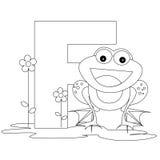 страница f расцветки алфавита животная иллюстрация вектора