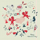 Страница scrapbook дня валентинки с эскизом влюбленности Стоковое Изображение RF