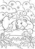 Страницы расцветки животные одичалые Добросердечный медведь смотрит меньшее милое bab иллюстрация вектора