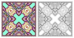 Страницы расцветки, книжка-раскраска для взрослых, подлинное desig ковра стоковые фотографии rf