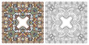 Страницы расцветки, книжка-раскраска для взрослых, подлинное desig ковра стоковые изображения rf