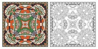 Страницы расцветки, книжка-раскраска для взрослых, подлинное desig ковра стоковая фотография rf