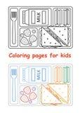 Страницы расцветки для детей с подносом обеда Стоковое Изображение