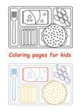 Страницы расцветки для детей с подносом обеда бесплатная иллюстрация