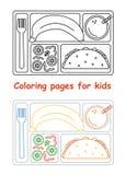 Страницы расцветки для детей с подносом обеда иллюстрация штока