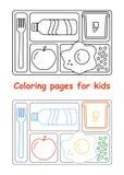 Страницы расцветки для детей с подносом обеда иллюстрация вектора