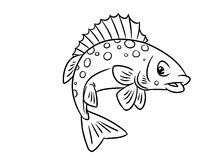 Страницы расцветки ruff рыб иллюстрация вектора