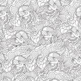 Страницы для взрослой книжка-раскраски Вручите вычерченным художническим этническим рамку сделанную по образцу ornamental флорист Стоковое фото RF