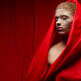 Странная девушка имбиря в накидке сморщенной красным цветом Стоковые Фотографии RF